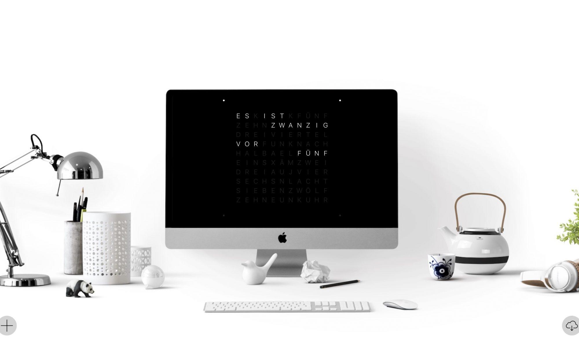 QlockTwo Screensaver on iMac